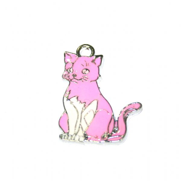 1 x 24*20mm rhodium plated pink cat enamel charm  - S.D03 - CHE1214